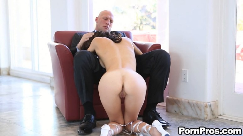 Bald man fucks his new slut