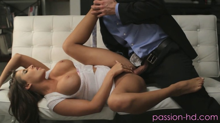 Married hot couple fuck on sofa
