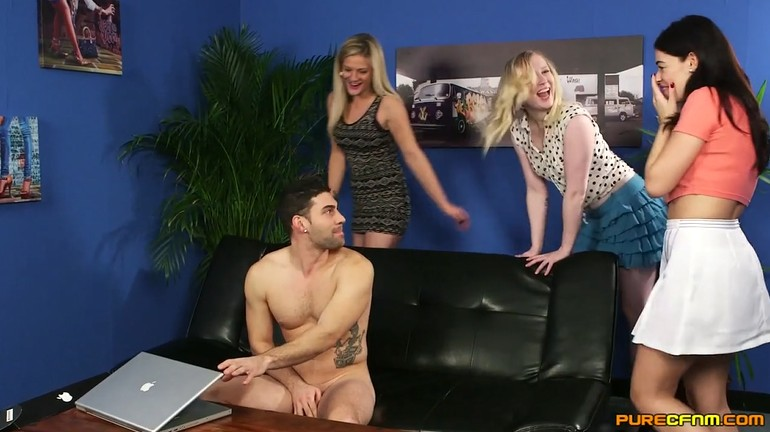 Three mature milfs suck cock