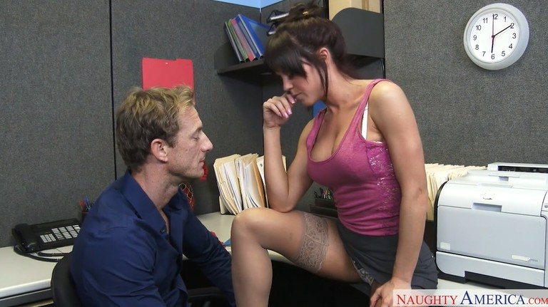 Hot milf in stockings seduced a man in the office