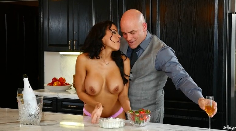 Bald husband fucked his seductive wife in the kitchen