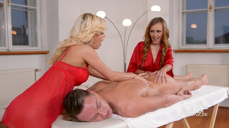 Two beautiful masseuses get fucked in the ass