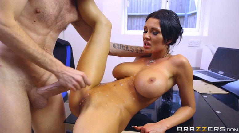 Big cock guy fucks busty milf hard in the office