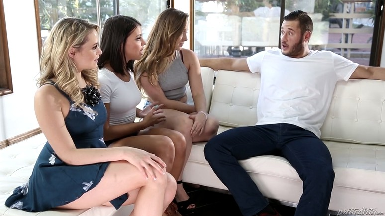 Three hot bitches persuade a guy to have sex