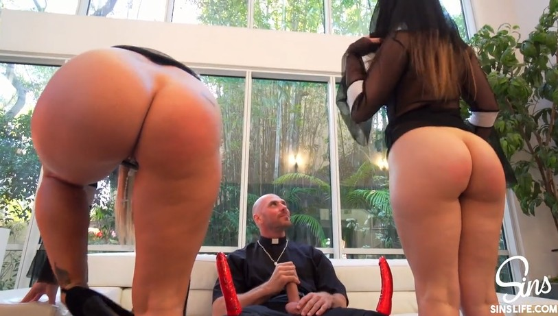 Two dirty nuns share a fat dick